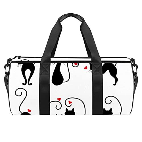 Gatti-Silhouettes - Borsone da viaggio cilindrico con tasca bagnata, leggero, da viaggio, con tracolla per uomo e donna