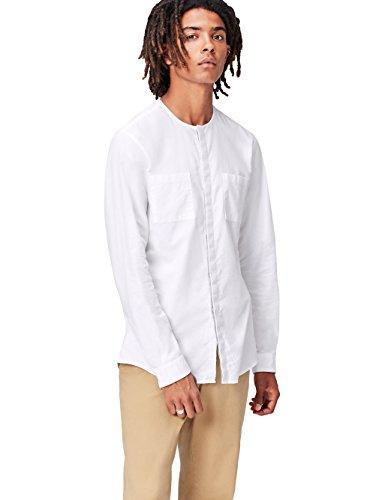 Marca Amazon - find. Camisa sin Cuello para Hombre, Blanco (White), 39 cm, Label: M