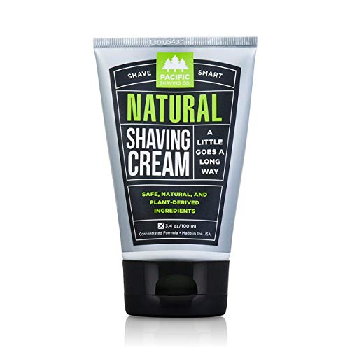 Pacific Shaving Company Natural Shave Cream - with Safe, Natural, and Plant-Derived Ingredients for a Smooth Shave, Softer Skin, Less Irritation, No Animal Testing, TSA Friendly, Made in USA, 3.4 oz