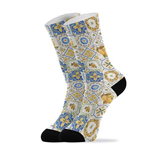 Women's Casual Crew Socks Soft Vintage Watercolor Sicily Ornament Lemons Athletic Socks