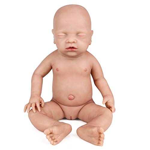 Vollence 46 cm Realistische schlafende echte Babypuppe, PVC frei, Augen geschlossen, Ganzkörper Silikon Baby Puppe, wie EIN echtes Kind, Handgemachte lebensechte weiche lebendige Baby-Puppe - Mädchen