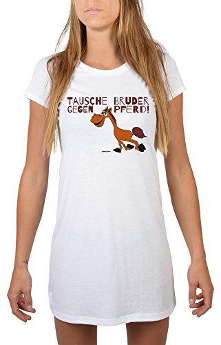 Nachtwäsche lustiges Motiv Nachthemd Tausche Bruder gegen Pferd! Mädchen Schlafanzug Pyjama für Jugendliche Geschenkidee für Frauen