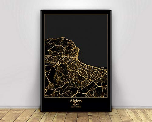 wopiaol Kein Rahmen Algier Algieria Schwarz und Gold Stadt Licht Karten Poster Benutzerdefinierte Welt Kunst Leinwand Malerei Wandbilder für Wohnzimmer Home Decor