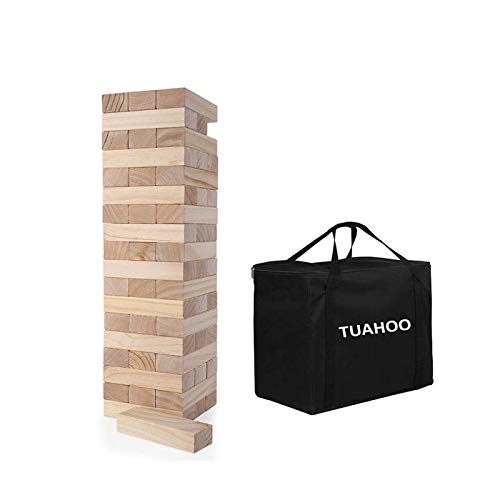 TUAHOO Giant Tumbling Tower Games Wooden Blocks Stacking Game for Adult, Kids, Family Outdoor Backyard Games ( 2 FT to 4 FT )