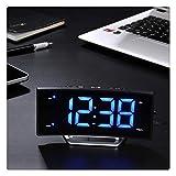 Lmy0624 Despertador Radio Curvado Reloj Digital Reloj Electrónico Cabecera Cama Snooze Radio Iluminación Retroiluminación Fuente De Alimentación Externa, 17.1 cm