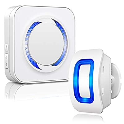 Motion Sensor Detector Chime Alert - BISTEE Wireless Motion Detector 500ft Range with 52 Chime Tunes 4 Sound Level LED Indicator 1 PIR Sensor and 1 Receiver for Store Entry Alert, Home Driveway Alarm