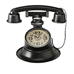 WHW Whole House Worlds Retro Telephone Clock, Inset with Large Numerals, Quartz Movement, Analog, Battery Powered (1 AA) 9.75 L x 8.25 W x 8.25 H Inches, for Tables and Counter-Tops