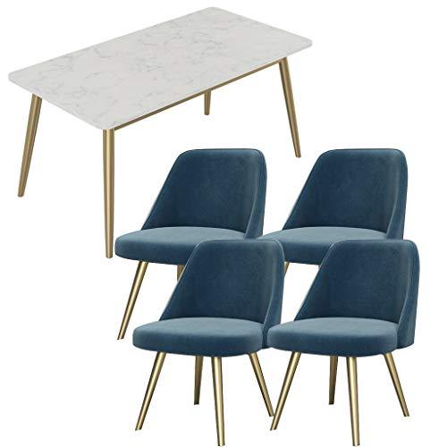 Esstisch Und Stuhl Kombination Hotel Bekleidungsgeschäft Café Teeladen Dessert-Shop Bäckerei Schachraum 1 Tisch 4 Stühle Marmor Rechteckige Küchenmöbel Grau Pink Blau ( Color : Blue , Size : Style 1 )