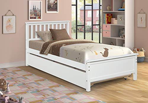 Hanway Twin Sleigh Bed with Trundle – Twin Sleigh Bed Frame – Solid Pine Twin Sleigh Bed Frames – Bed Frames – Bed Frames with Trundle – Wood Bed Frame – Compact Room Setting - White