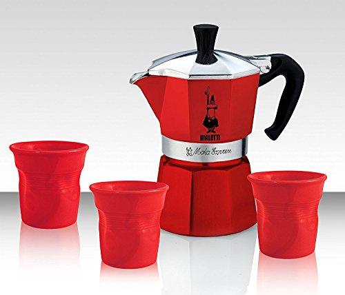 Bialetti Set Moka rot - Express mit 3 Tassen mit 3 roten Bechern - Limited Edition, .