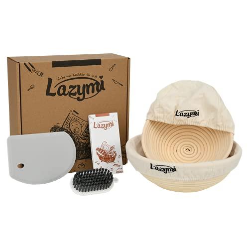 Lazymi Gärkörbchen Rund 2er Set ( 20 cm + 25 cm ) Gärkorb Holzschliff für 500g - 1kg Brot , Banneton Brotform aus Peddigrohr - Brotkörbchen zum Backen mit Tuch , Groß Silikon Teigschaber , Bürste