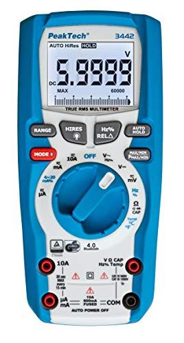 PeakTech P 3442 True RMS Digital Multimeter für Elektriker mit 60000 Counts & 4.0 Bluetooth, Profi-Handmultimeter, Auto-Hold, TÜV/GS, Spannungsmesser, Durchgangsprüfer, Messgerät - CAT III 1000V