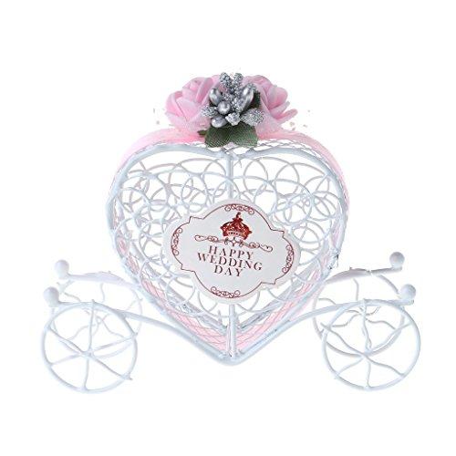 LANDUM Cinderella Kutsche Schokolade Süßigkeiten Box Geburtstag Hochzeit Party Gastgeschenk Dekoration Geschenk, Eisen, rose, 11.5cmx9cmx3cm