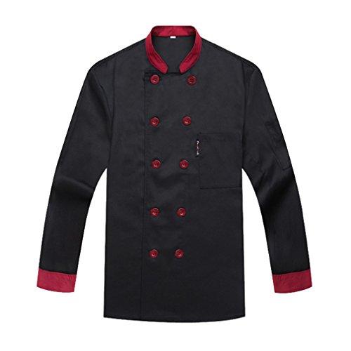 Camisa de Cocinero Cocina Uniforme Manga Larga Negro
