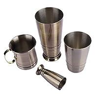 3個のカクテルシェーカーセット、ステンレス鋼ブロンズボストンカクテルシェーカー、ドリンクメーカー缶、計量カップセットバーテンダーツール