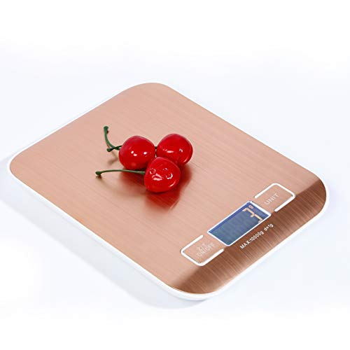 5 kg Digital Kitchen Scale Multifunction Food Scale, Stainless Steel Gold