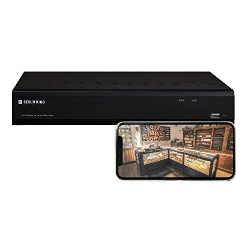 SECUR KING - Grabador de vídeo de red, 8 canales 2MP, visión remota desde navegador o smartphone (Android e iOS), compatible con Dropbox y Google Drive