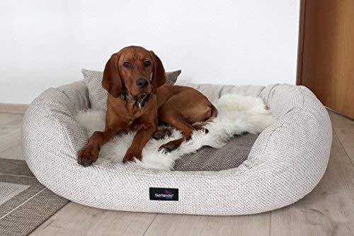 tierlando Luxus orthopädisches Hundesofa BALOU Hundebett Visco Plus Matratze   Handwebcharakter   Premium-Lounge! Gr. XL 110cm Beige Töne