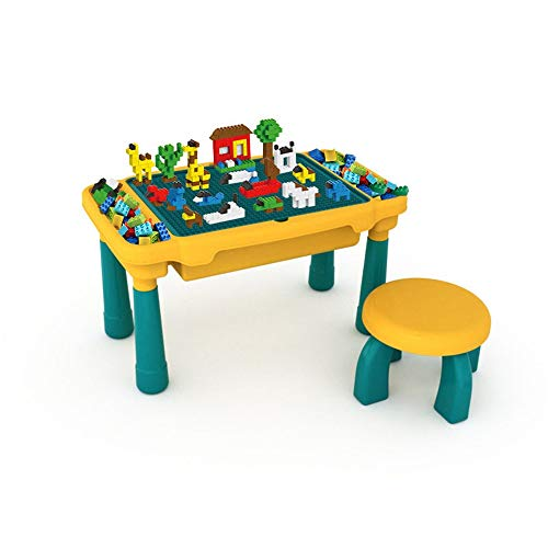 Kids Multi Activity Table Set Multi-Purpose Building Block Construction Activity Table with 1 Chairs, Writing Top and Toy Storage for Kids Building Block Table