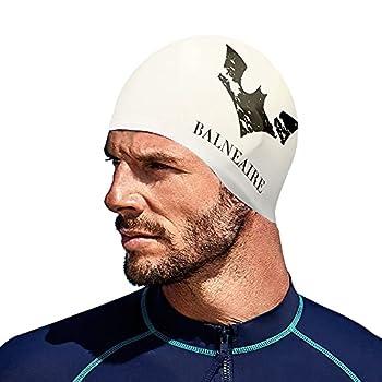 BALNEAIRE Silicone Unisex Swim Cap,Waterproof Bat Pattern Swimming Cap for Men and Women