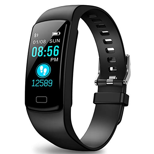 Polywell Fitness Tracker, Aktivitätstracker mit Herzfrequenz Monitor und Schlaf Monitor, Bluetooth, wasserdicht, Schrittzähler und Kalorienzähler für Männer Men