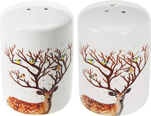 Beautiful Ceramic Reindeer Salt and Pepper Shakers Cruet Set