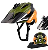 SUNRIMOON Mountain Bike Helmet for Adults, MTB Helmet for Men Women,Bicycle Helmet Cycling Helmet with USB Safety Light & Camera Mount & Removable Visor,Adult Helmet for Mountain Street Road,Green