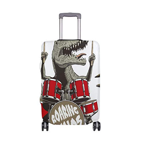 Roaring Dinos Music Dinosaur Luggage Cover Protector Spandex Travel Suitcase Baggage Cover Fits 18-20 Inch