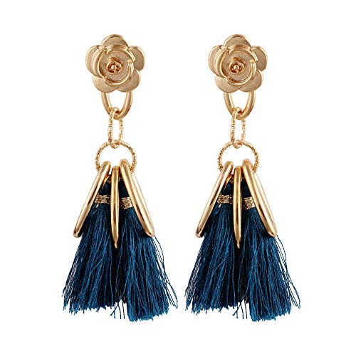 GGSDDU Fashion Ear Jewelry (Multicolor Colors Available) Alloy Flower Circle Tassel Earrings For Women Christmas Valentine'S Day Girl Gift Drop Dangle Earrings,Navy Blue