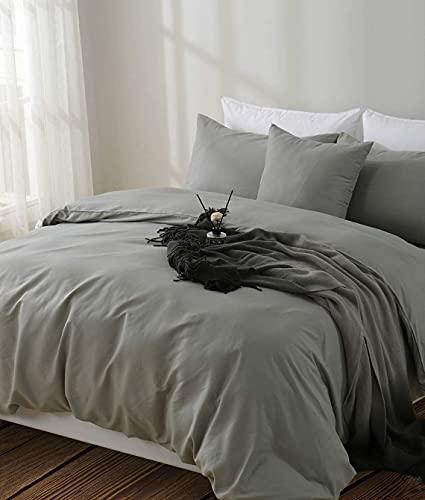 Aisbo Juego de funda nórdica para cama de matrimonio de 240 x 200 cm, de microfibra, color liso, con 2 fundas de almohada de 50 x 80 cm, color gris