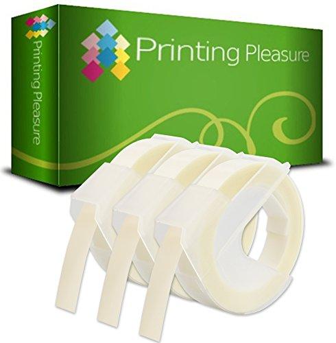 3er Pack Selbstklebenden Etiketten 3D weiß auf transparent Prägeband 9mm x 3m, Kunststoff, kompatibel für DYMO Omega und Junior Etikettenprägegerät