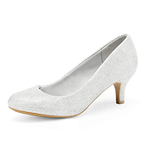 DREAM PAIRS Women's Luvly Silver Bridal Wedding Low Heel Pump Shoes - 11 M US