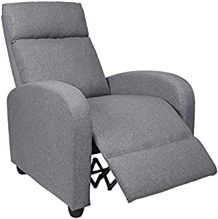 Polar Aurora Recliner Chair Fabric Single Modern Sofa Home Theater Seating for Living Room (Gray)