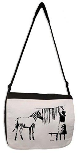 Banksy Washing And Hanging Out Zebra Stripes Laptop Messenger Bag