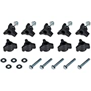 """POWERTEC 71068 T-Track Knobs with 1/4-20 by 1-1/2"""" Hex Bolts and Washers(Set of 10)"""