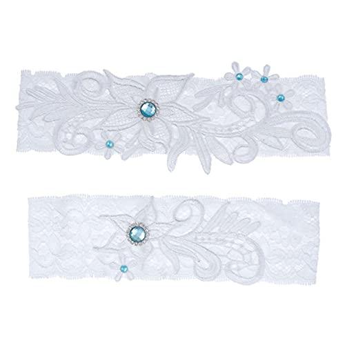 Liga nupcial elegante Liga de encaje elástico con piedras preciosas azules Anillo de muslo sexy Vestido de dama de honor Accesorios de boda - Azul cielo, 40-65CM (15.7-21.7in)