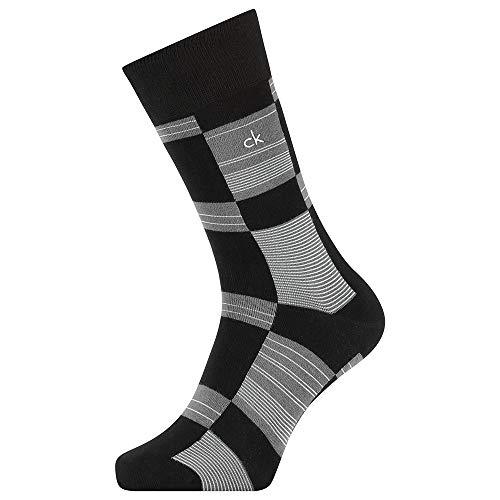 Calvin Klein Geometric Pattern Men's Crew Sock (1 Pack) Calcetines, negro, Talla única para Hombre