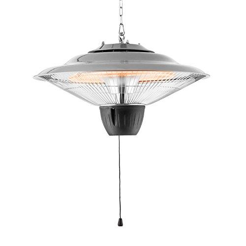 blumfeldt Hitzkopf - Radiatore a soffitto, Radiatore a infrarossi, 750 o 1500 W, Range Fino a 9 m², Classe di Protezione IP34, Griglia Protezione, Argento