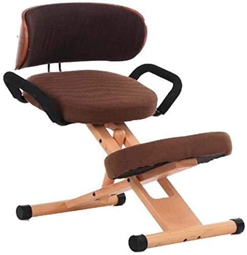 Bureaustoel Knielende stoelen Houten rugleuning en armleuning Katoen en linnen Houdingscorrectie Knielkruk Orthopedische kruk (kleur: grijs)
