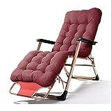 LIX-XYD Sillón reclinable Silla de salón de la Playa Ajustable Sillón Balcón Silla Plegable de Verano con cojín extraíble, 380lbs de Apoyo (Color: Silla) (Color : Chair Cushion)