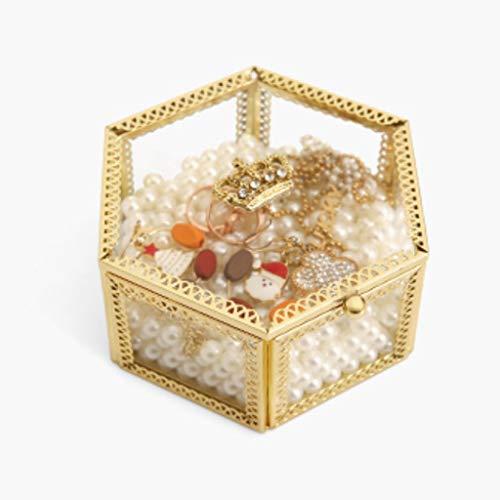 swqiy GYDSSH Caja de almacenamiento transparente hexagonal para pendientes, collar de escritorio europeo