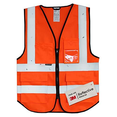 Salzmann Gilet de Sécurité/Gilet de Travail/Veste de Haute Visibilité fabriqué avec Matériau Scotchlite 3M Réfléchissant avec Quatre Poches et Fermeture Éclair, Orange Rouge, L/XL