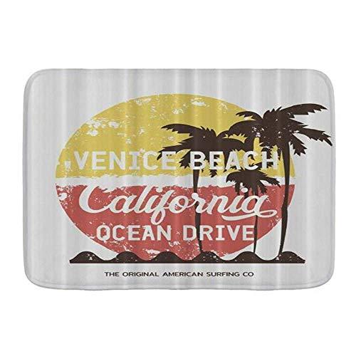 Fußmatten, Sunshine Art Surfen und Surfen California Venice Beach Vintage Grunge, Küchenboden Badteppichmatte Saugfähig Innen Badezimmer Dekor Fußmatte Rutschfest