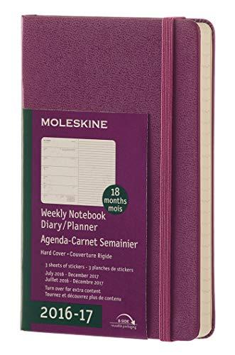 Moleskine Wochen Notizkalender, Taschenkalender, 18 Monate, 2016/2017, Pocket, A6, Hard Cover, weinrot