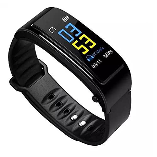 Pulsera de auriculares Dos en una pulsera inteligente con Rastreador de Fitness Smart Watch con frecuencia cardíaca y Monitoreo de Presión Arterial Función Paso Contador Unisex Negro