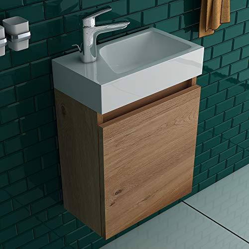 Alpenberger Lugano 400 (Bamboo) Vormontiertes 40cm Badmöbel-Set | Waschbeckenunterschrank mit Soft-Close Funktion | Elegante&Platzsparende Einrichtungslösung…