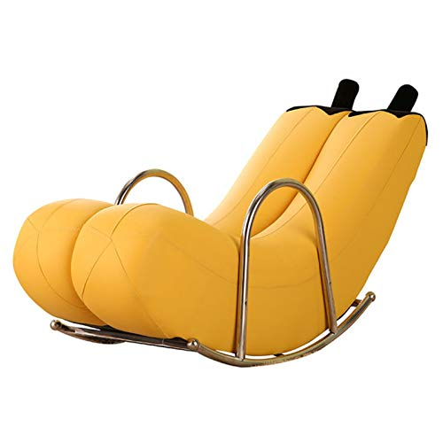 CN Cover Rocking Chair Patio Rocker Lounge, Lounger Banana Rocking Chair, Lazy Sofa Recliner Rocking Chairs Single Steel Armchair for Indoor & Outdoor Recliner Seat 135Cm * 60Cm *60Cm