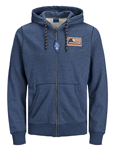 JACK & JONES Herren JOREXPLORE Zip Sweat Hood PS Kapuzenpullover, Ensign Blue, 4XL