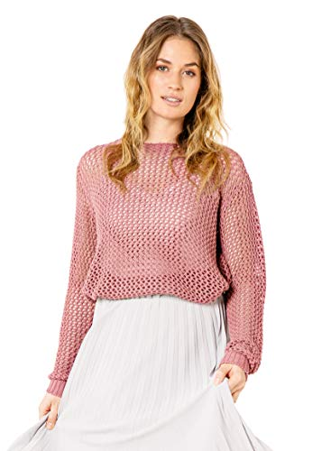 Sublevel Damen Netz Pullover aus Loch Grob-Strick Dark-Rose XL