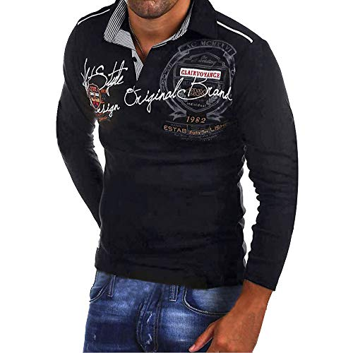 Celucke Langarm Polohemd Herren Poloshirt Besticken Mit Coole Print, Männer T-Shirt Polo Hemd Basic Shirt Freizeit Polohemden Langarmhemd Herrenhemden Sweatshirt Langarmshirt (Schwarz, XXL)
